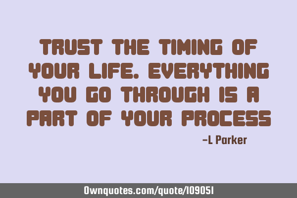 Trust the timing of your life. Everything you go through is a part of your