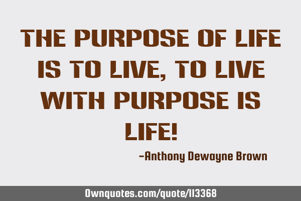The purpose of life is to live, to live with purpose is life!