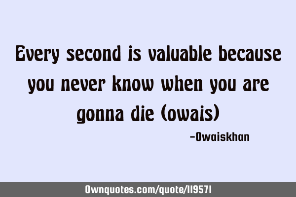 Every second is valuable because you never know when you are gonna die (owais)