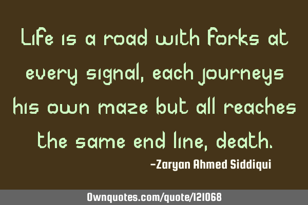 Life is a road with forks at every signal, each journeys his own maze but all reaches the same end