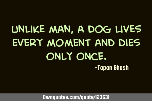 Unlike man, a dog lives every moment and dies only