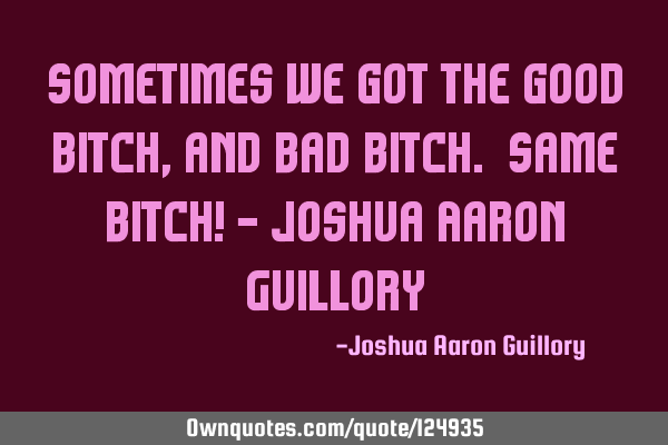 Sometimes we got the good bitch, and bad bitch. Same bitch! - Joshua Aaron G