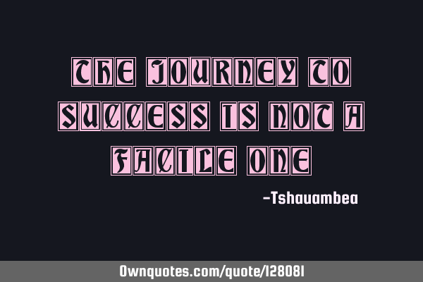 The journey to success is not a facile