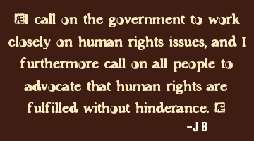 I call on the government to work closely on human rights issues, and I furthermore call on all