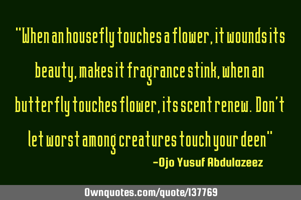 """When an housefly touches a flower, it wounds its beauty, makes it fragrance stink, when an"