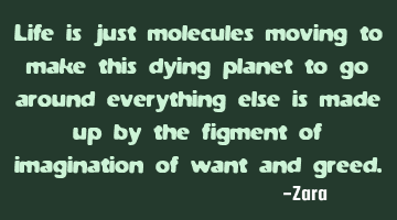 Life is just molecules moving to make this dying planet to go around everything, else is made up by
