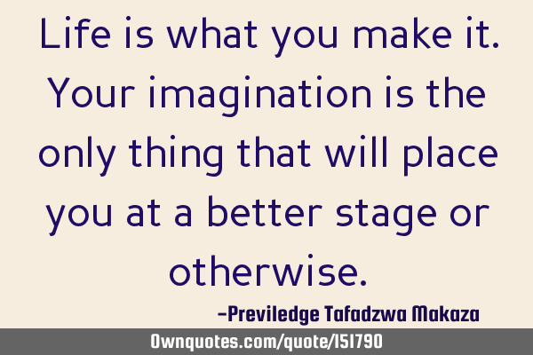 Life is what you make it. Your imagination is the only thing that will place you at a better stage