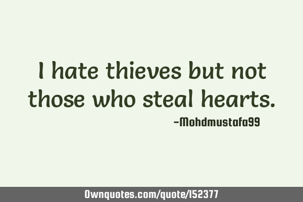I hate thieves but not those who steal