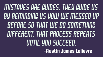 Mistakes are guides. They guide us by reminding us how we messed up before so that we do something