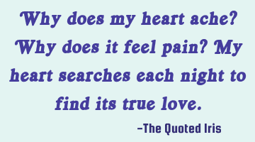 Why does my heart ache? Why does it feel pain? My heart searches each night to find its true