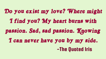 Do you exist my love? Where might I find you? My heart burns with passion. Sad, sad passion. K