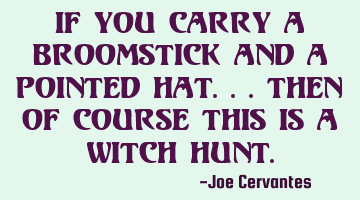 If you carry a broomstick and a pointed hat.. then of course this is a witch hunt.