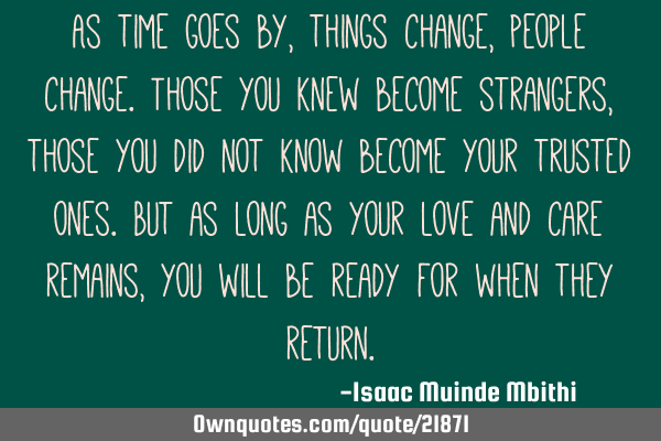 As time goes by, things change, people change. Those you knew become strangers, those you did not
