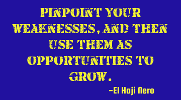 Pinpoint your weaknesses, and then use them as opportunities to grow.