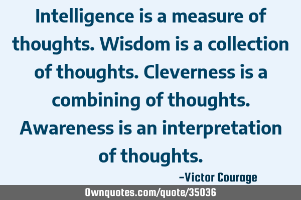 Intelligence is a measure of thoughts. Wisdom is a collection of thoughts. Cleverness is a