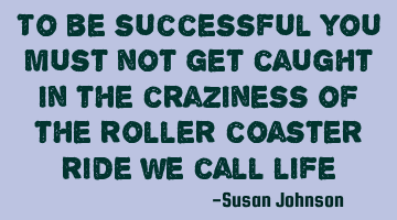 to be successful you must not get caught in the craziness of the roller coaster ride we call