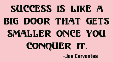 Success is like a big door that gets smaller once you conquer it.