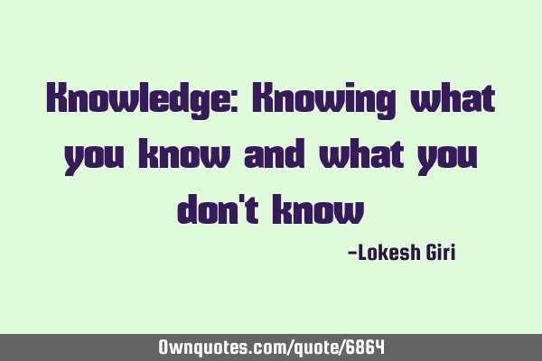 Knowledge: Knowing what you know and what you don