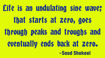 Life is an undulating sine wave; that starts at zero, goes through peaks and troughs and eventually