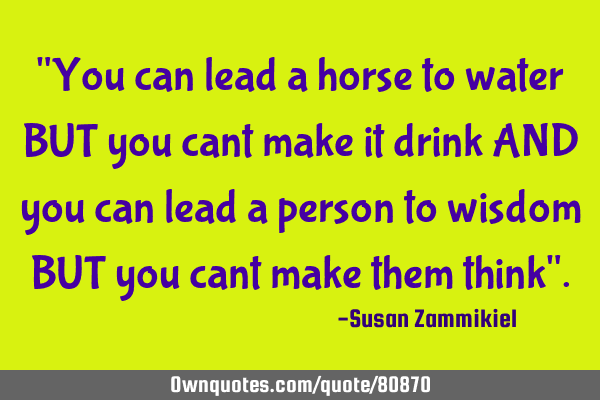 """You can lead a horse to water BUT you cant make it drink AND you can lead a person to wisdom BUT"